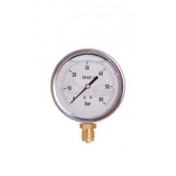 Manómetro glicerina INOX. Ø 100 MM. 0-60 BAR.